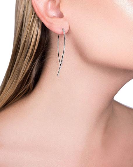 589e795e30eb2 14k White Gold Skinny Hooked Diamond Hoop Earrings