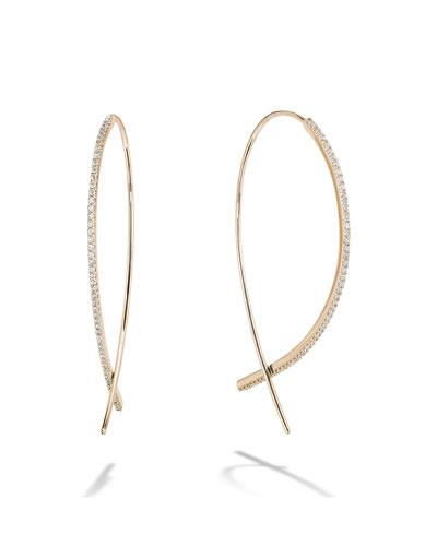 14k Gold Skinny Upside Down Diamond Hoop Earrings