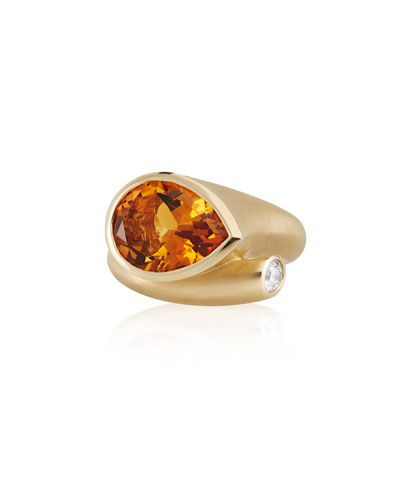 Whirl 18k Gold Orange Citrine & Diamond Ring