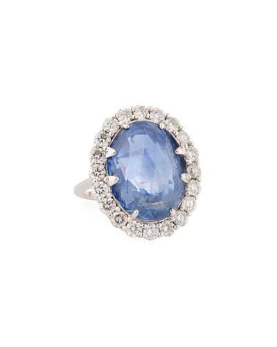 18k White Gold Sapphire & Diamond Ring  Size 6.75