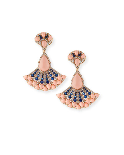 18k Angel Skin Coral  Sapphire & Diamond Earrings