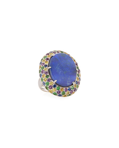 18k White Gold Opal & Multi-Stone Ring  Size 7