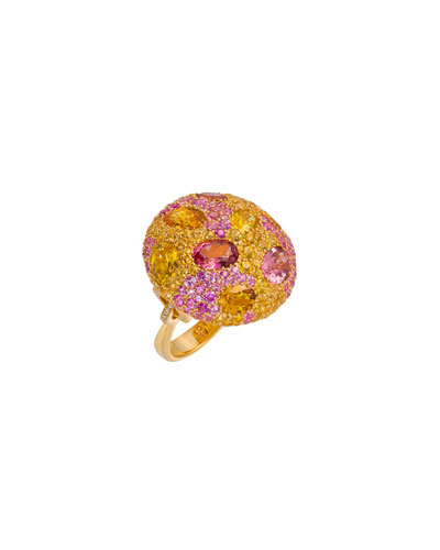 18k Gold & Stone Cookie Ring  Size 6.5