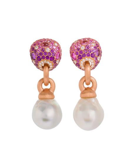 Margot McKinney Jewelry 18k Pink Stone & Baroque Pearl Drop Earrings