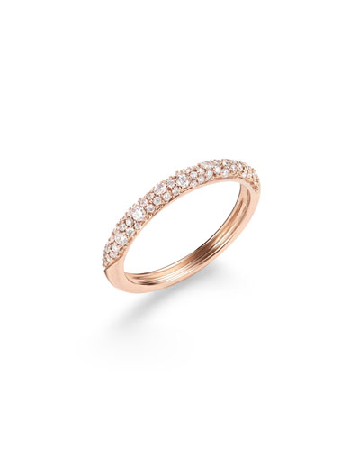 14k Rose Gold Diamond Cluster Stack Ring, Size 7