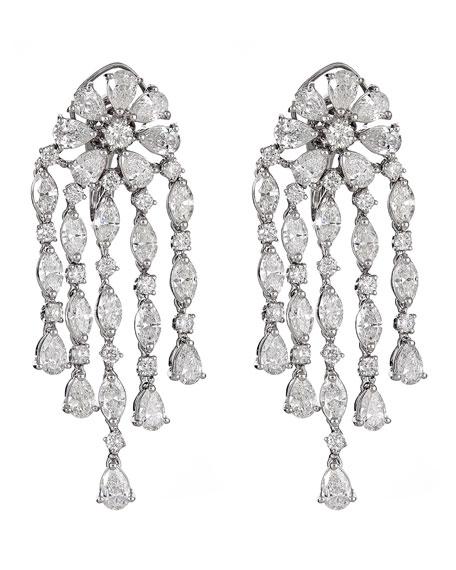 ZYDO Unique 18k White Gold Diamond Multi-Dangle Earrings