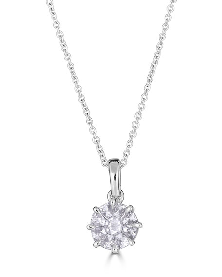 ZYDO Mosaic 18k White Gold Round Diamond Pendant Necklace