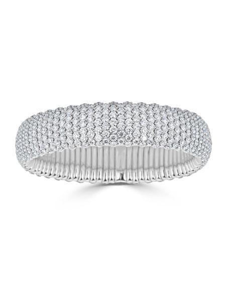 ZYDO Stretch 18k White Gold Diamond Wide Bracelet