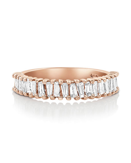 Dominique Cohen Multi Diamond Baguette Stacking Ring in 18K Rose Gold, Size 7