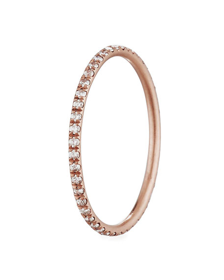 Dominique Cohen Micro-Set Diamond Stacking Ring in 18K Rose Gold, Size 7