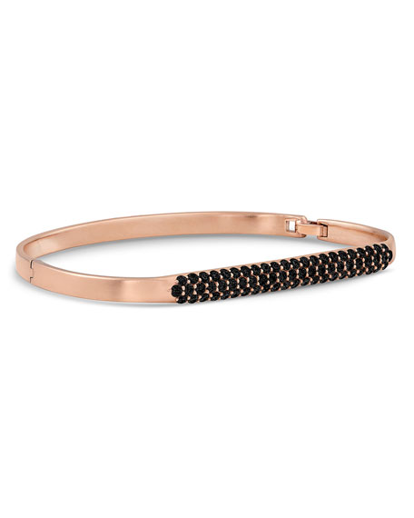 Dominique Cohen 18k Rose Gold Black Diamond Hinged Huggie Bangle Bracelet
