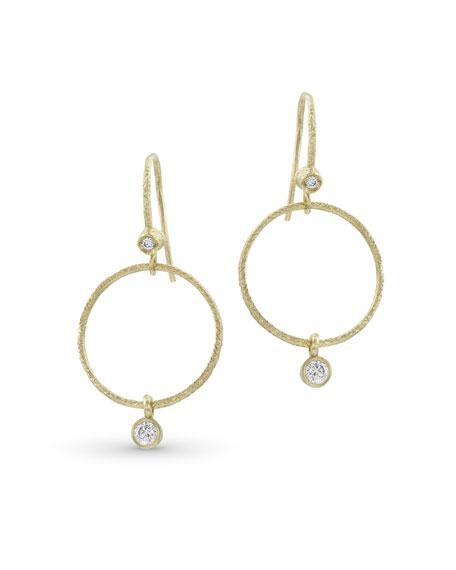 Dominique Cohen Textured 18k Gold Diamond Hoop Drop Earrings