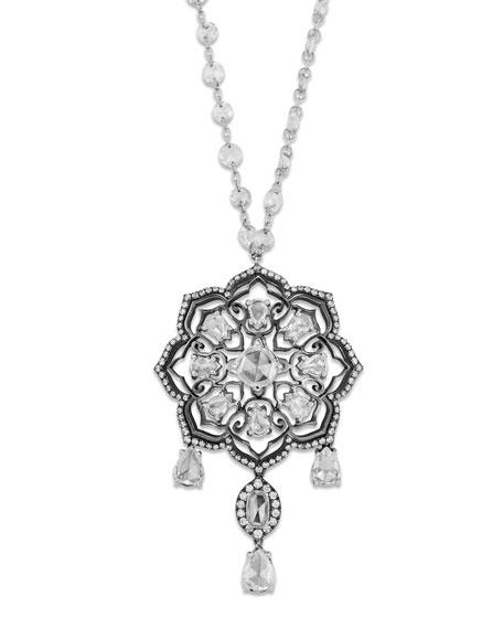 Staurino 18k White Gold Diamond-Strand Floral Pendant Necklace