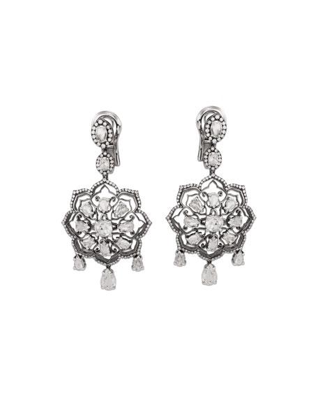 Staurino Couture 18k White Gold Diamond Mandala Drop Earrings