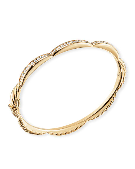 David Yurman TIDES 18K GOLD TRIPLE DIAMOND STATION BANGLE