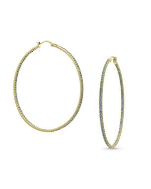 bb23f0c93 Dominique Cohen 18k Gold Blue Diamond Hoop Earrings