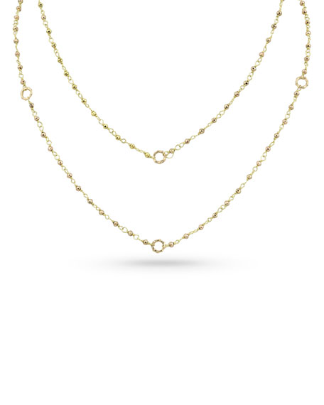 "Dominique Cohen 18k Gold Yellow Pyrite & Bamboo Link Necklace, 42""L"