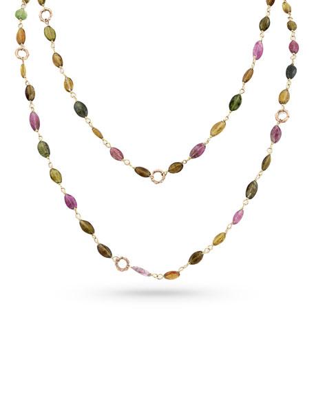 "Dominique Cohen 18k Rose Gold Tourmaline & Bamboo Link Necklace, 42""L"