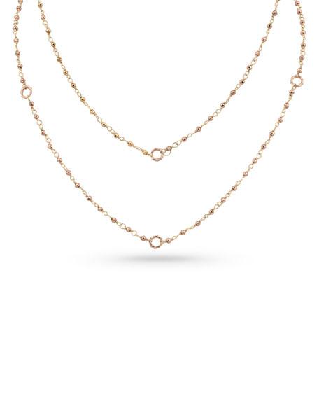 "Dominique Cohen 18k Rose Gold Rose Pyrite & Bamboo Link Necklace, 42""L"