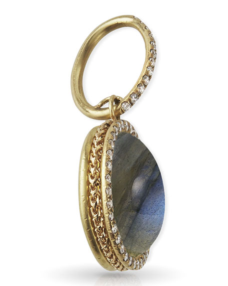 Dominique Cohen 18k Yellow Gold Labradorite Cabochon Diamond Pendant