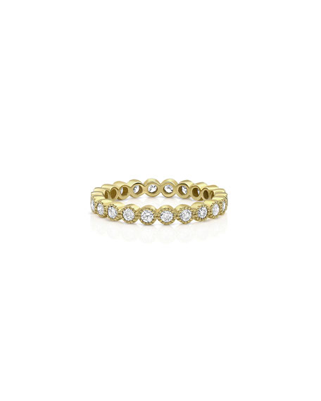 Dominique Cohen 18k Gold Milgrain Diamond Stacking Ring (Large)