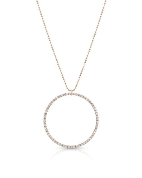 Dominique Cohen 18k Rose Gold Diamond Hoop Pendant Necklace (Large)