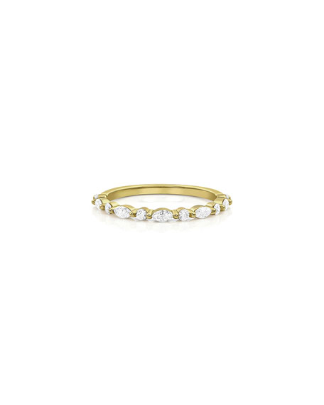 Dominique Cohen 18k Gold Diamond Marquise & Round Stack Ring, Size 7