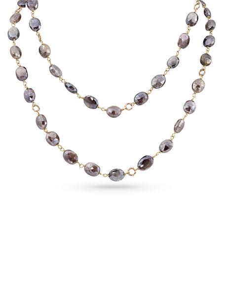 """Dominique Cohen 18k Rose Gold Pink Moonstone Long Necklace, 42""""L"""