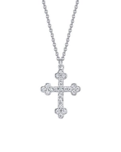 18k White Gold Diamond Cross Pendant Necklace