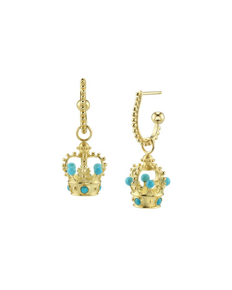 Cynthia Bach 18k Gold Turquoise Crown Hoop-Drop Earrings