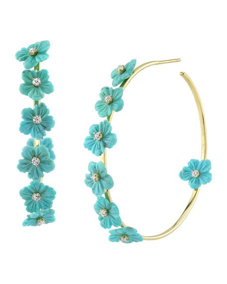 "Cynthia Bach 18k Gold Turquoise & Diamond Flower Hoop Earrings, 2""L"