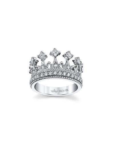 Empress Tiara 18k White Gold Diamond Ring  Size 6.5