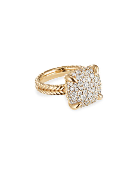 David Yurman Chatelaine 18k Gold Diamond Ring, Size 7