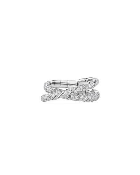 David Yurman Pave Flex 18k White Gold 2-Row Diamond Ring, Size 6-7