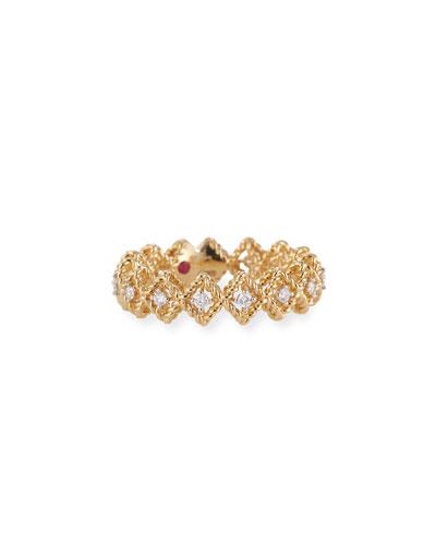 New Barocco 18k Gold Diamond Ring, Size 6.5