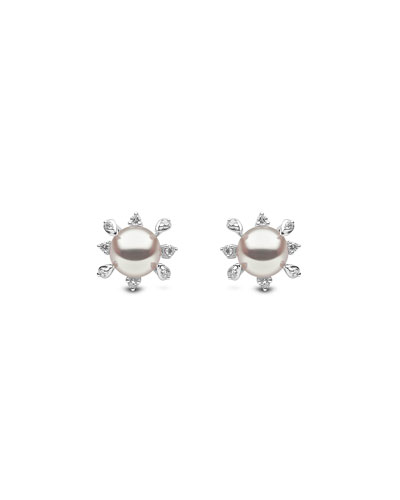 18k White Gold Pearl & Stemmed Diamond Stud Earrings