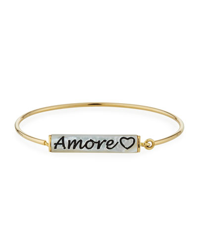18k Mother-of-Pearl 'Amore' Engraved Wire Bracelet