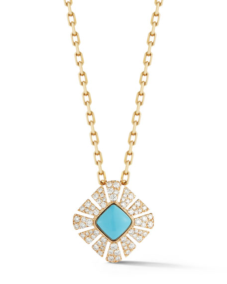 Miseno Vesuvio 18k Diamond & Turquoise Pendant Necklace