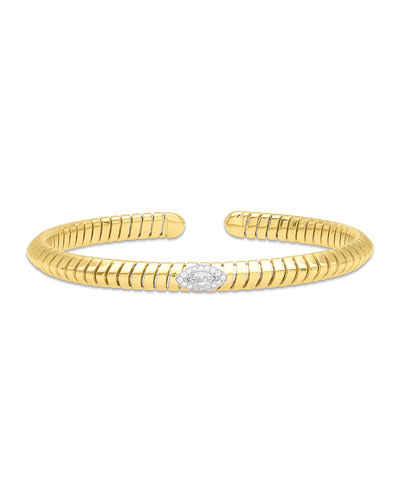 Trisola 18k Diamond Navetta Bangle  Size L