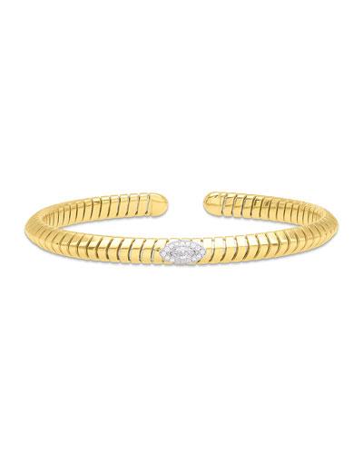 Trisola 18k Diamond Navetta Bangle  Size S