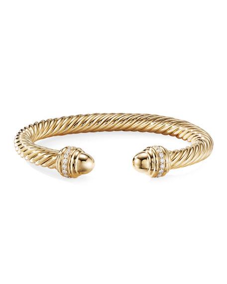 David Yurman 18k Cable Bracelet w/ Diamonds, 7mm, Size L