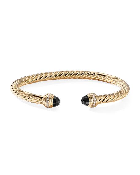 David Yurman 18k Gold Cable Bracelet w/ Diamonds & Onyx, Size S