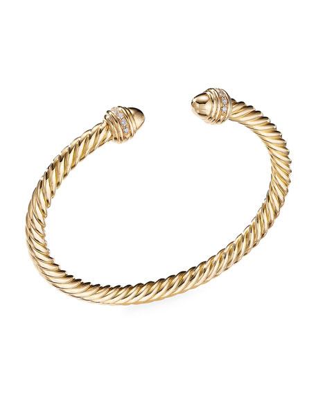 David Yurman 18k Gold Cable Bracelet w/ Diamonds, Size L