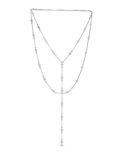18k White Gold Diamond Lariat Wrap Necklace