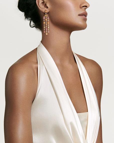 David Yurman Novella Chandelier 18k Gold Diamond Earrings