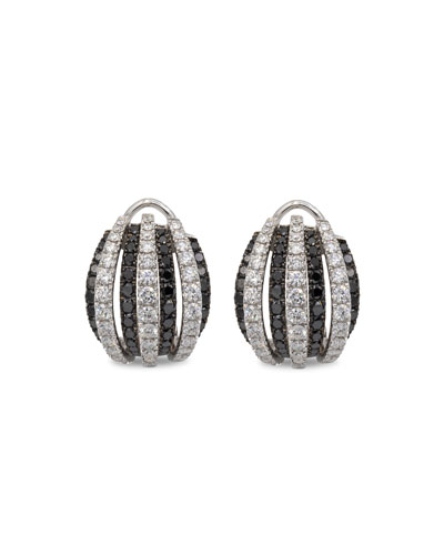 Concerto Dome 18k White Gold Black & White Diamond Earrings