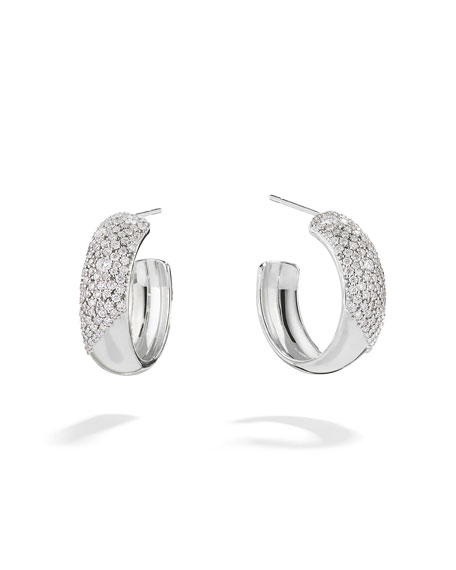 LANA 14k White Gold Cluster Diamond Hoop Earrings