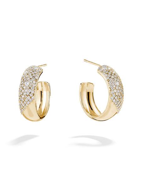 LANA 14k Cluster Diamond Hoop Earrings
