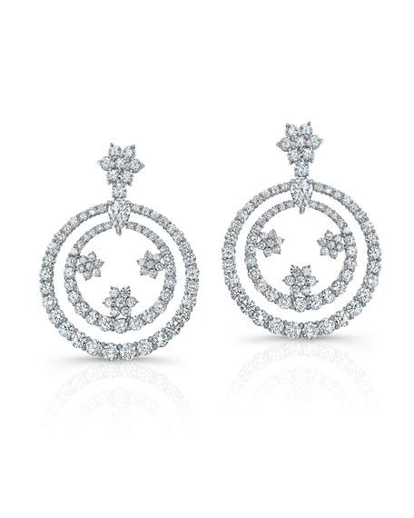 Norman Silverman 18k White Gold Diamond Dangling Earrings