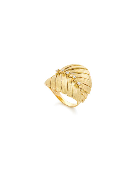 Hueb BAHIA 18K GOLD DIAMOND LEAF RING
